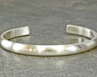 Brushed silver half round cuff bracelet for industrial elegance handcrafted - solid 925 BRS430
