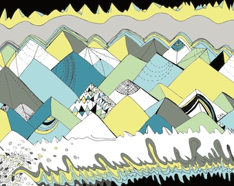 pop art mountains print
