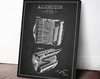 1938 Accordion Patent, Accordion Print, Accordion Canvas Print, Accordion Poster, Wall Art, Home Decor, Gift Idea, MUIN18C