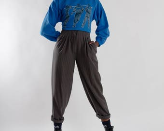 Vintage gray pinstripe pants / 80s women's highwaist trousers / Vintage dark gray pleated pantalon / Ladies pinstriped trousers / Size XS