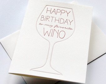 Letterpress Birthday Card - Wino Bday
