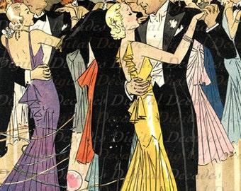 Party Dancing Couple Balloons Streamers Gatsby Era - Digital Image Vintage Art Illustration