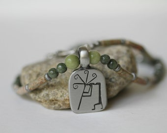 Men's Autumn and Saguaro Jasper Antiqued Pewter Kokapelli Pendant Necklace, Green Necklace, Father's Day, Masculine Necklace, Gifts for Dad