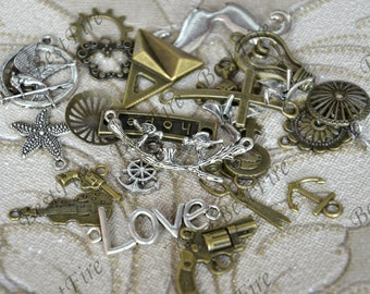Sale price Charms All Different Antique Silver and Bronze Tone Grab Bag pendant finding,Connector pendant, charm Metal Earring Components
