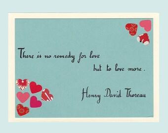 Remedy for Love card - Henry David Thoreau quotation / H.D. Thoreau l'a dit - by Pauline Rousseau
