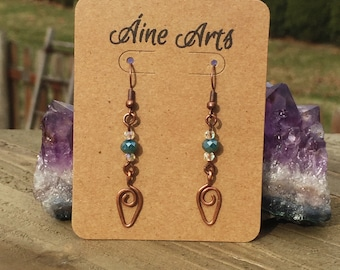 Teal & Copper Drop Earrings, Gift for Mom