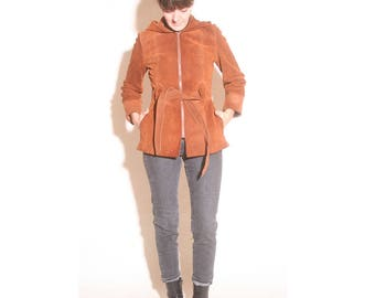 Vintage 1970s Rust Suede Hide Away Hooded Belted Coat Jacket size XS