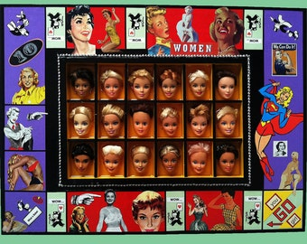 ALTERED GAME BOARD, Assemblage/Mixed Media all about women, with Barbie heads resting comfortably in Epoxy