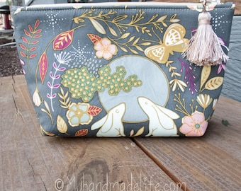 Cute Rabbits Lined Makeup Bag | Bunny Rabbits | Cute Easter Gift Cosmetic Bag | Small Gift Under 20 | Camera Accessory Bag | Bridesmaid Gift