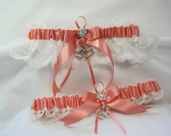 DOUBLE HEART coral with ivory LACE wedding garters or prom garter