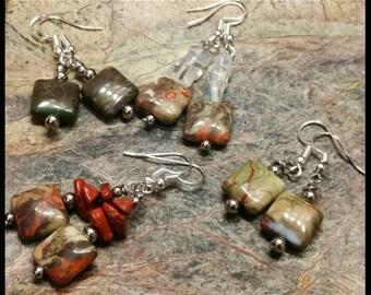 Ocean Stone Jasper Earrings Choose Style!