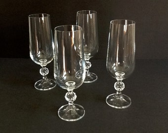 Crystal Champagne Flutes, Set of 4, Faceted Stems, Diamond Cut Knop, Toasting Flutes, 8 Fluid Ounces