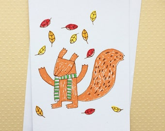 Screenprined Squirrel Card, Nature Lover, Autumn, Fun Card