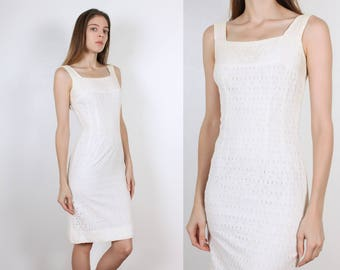 60s Eyelet Wiggle Dress   Vintage Sheath White 1960s Fitted Pencil Dress - Extra Small xs