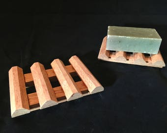 2 aromatic Spanish cedar soap dishes - Less surface area for less sticking