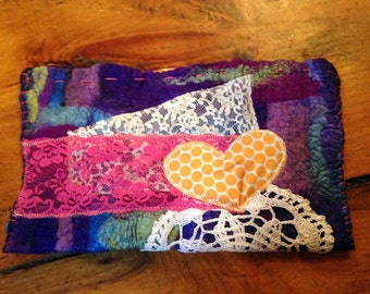 One of a kind wool Felted Clutch with Lace & ribbon