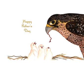 Father's Day Card~Bird Lover Card for Dad~Bird Card for Dad~Unique Dad Card~Handmade Bird Card for Dad~Peregrine Falcon for DAD~Hawk Card