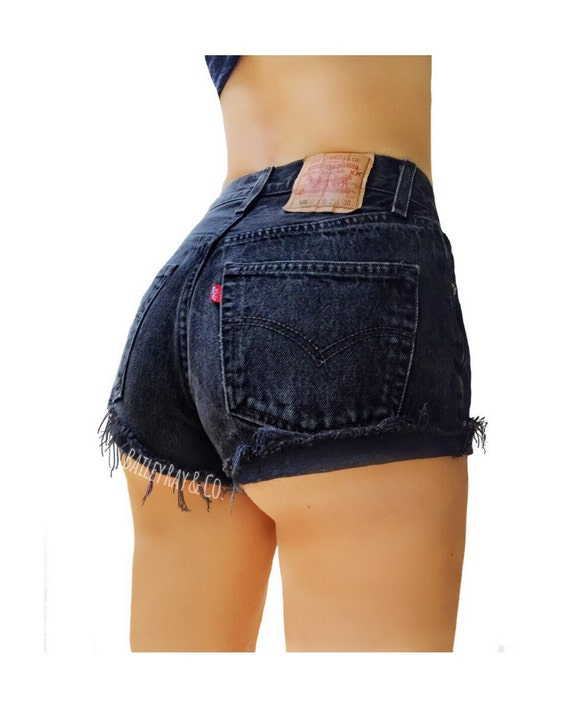 black jean shorts for women