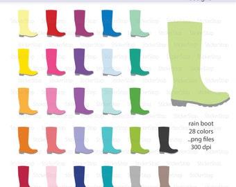 Rain Boots Digital Clipart - Instant download PNG files - Rainboot, work boot