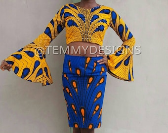 African ankara crop top with pencil skirt, African clothing, women clothing, African fabric, African skirt, pencil skirt, croptop