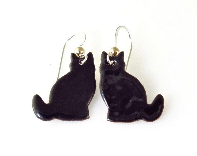 Black Cat Jewelry - Cat Earrings - Enamel Jewelry - Sterling Silver - Enamel Earrings - Copper Jewelry - Handmade - Cat Gift - Free Ship