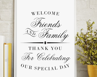 Printable Welcome Sign, Wedding Reception Sign, Welcome from the Mr. and Mrs, Script Wedding Sign, Instant Download