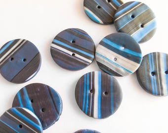 Set of 3 handmade buttons, polymer clay, stripes, blue/black