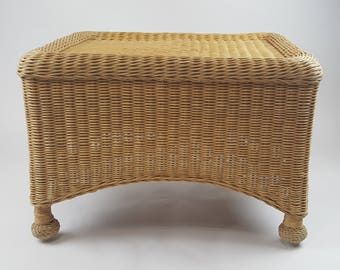 Vintage Wicker Coffee Table Stool Bench Natural Cottage Decor