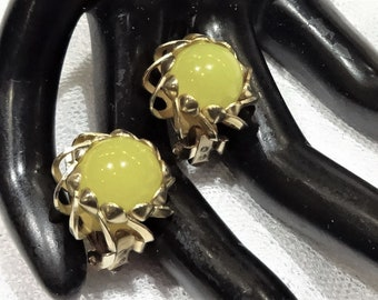 Vintage Yellow Moonglow Lucite Earrings