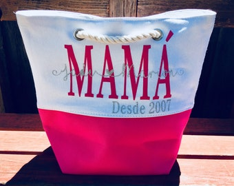 Mother's Day, Dia de las madres, baby shower, welcome baby, mom present, mama, mom, tote, bag, personalized mom tote.