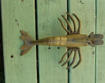 Vintage brass lobster crayfish