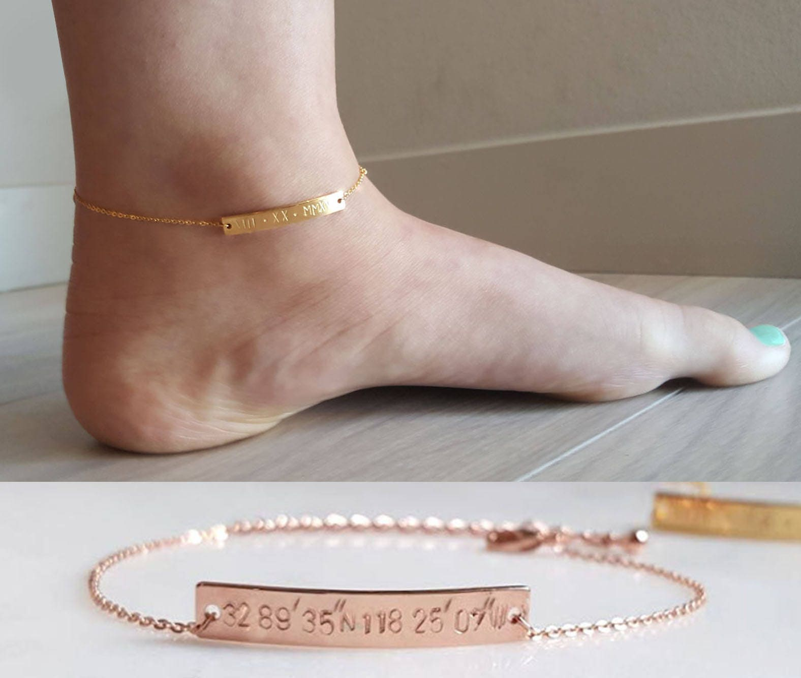 gold solid il p anklet real custom dainty bracelet personalized delicate fullxfull christmas name