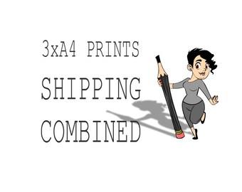 Choose 3 x A4 Art Prints, Shipping Combined, Print,  Wall Decor, Wall Art, Illustration Print, Nursery art, print 8x11.5 inch (21x29.5 cm)