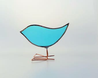 Turquoise blue Stained Glass Standing Bird Ornament, turquoise glass, bird lover gift, Glass bird, Mothers day gift, bird gift