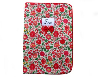 Quilted in Liberty of Anjo health book red piping Red