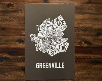 Greenville, South Carolina Neighborhoods Screen Print Map