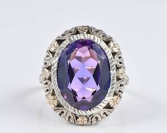 Stunning Edwardian 8.52 Ct Verneuil alexandrite rare ring