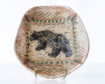 Black Bear Bowl, pottery dish, footed bowl, stoneware, lodge decor, rustic decoration, woodland animals, bear artwork, Wisconsin art