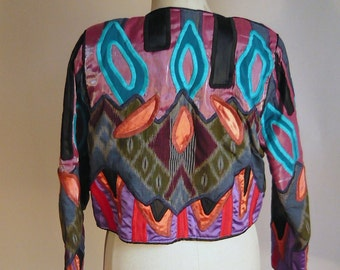 Vintage Quilted Mardi Gras Jacket / BOLD and GORGEOUS Judith ROBERTS / Embroidered Cropped Long Sleeves / Size 8 10 12 Medium