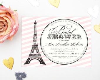 Paris Parisian Bridal Shower Invitation or French Bachelorette Party Invite, Custom Blush Pink and Black Striped Card w. Eiffel Tower