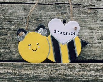 Bee clay keepsake ornament - bee decoration - new baby gift - nature lover gift - nursery decor - personalised ornament - save the bees