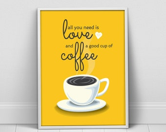 Yellow Gray Coffee love decor, Coffee Love kitchen wall art, kitchen decor, coffee print, coffee poster, kitchen decor, coffee quote art