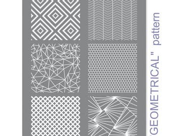 """European SILK SCREEN - """"6 in 1"""" silk screen reusable 114X153MM   Geometric Pattern   Imported from Europe.  6 Geometrical Patterns. G151S"""
