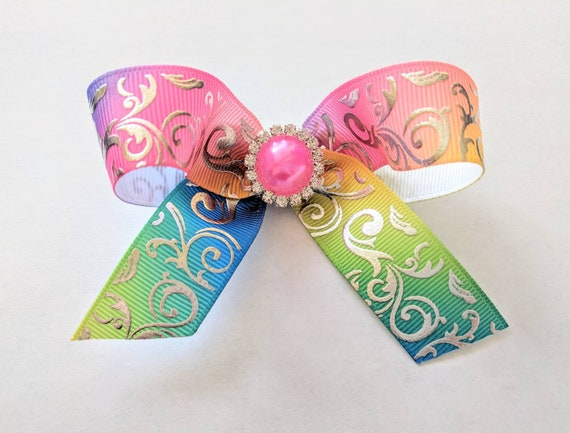 3 inch Rainbow Damask Rhinestone Tails Down Hair Bow