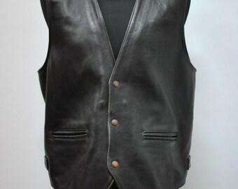 Vintage TRAPPER LEATHER men's vest , leather vest with advance vintage patina..(012)