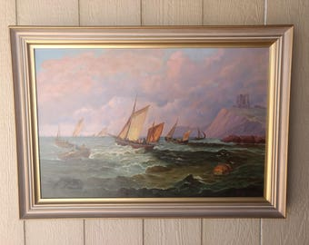 Vintage Oil on Canvas Seascape Sailboats Painting Signed Betty Fowler