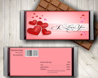 I Love You Candy Bar Wrapper, I Love You Gifts, I Love Us Candy Bar Wrapper, Love Candy Wrapper, Valentine Gift for Him, Chocolate Wrapper