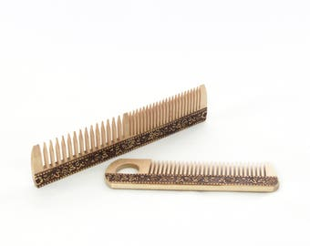 Wood combs, Set of 2, natural birch