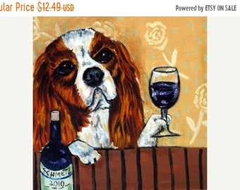 25% off King Charles Cavalier Spaniel at the Wine Bar Dog Art Tile Coaster Gift
