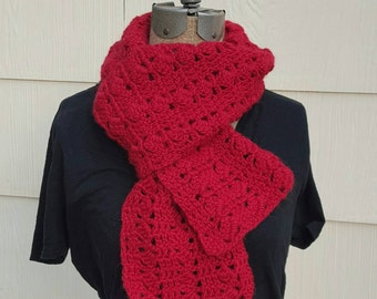 Red Crochet Wool Scarf